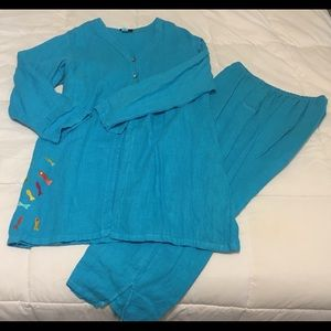 Turquoise Blue Linen Fish Embroidered Set